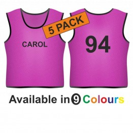 Training bib - printed name front & number back 5 pack