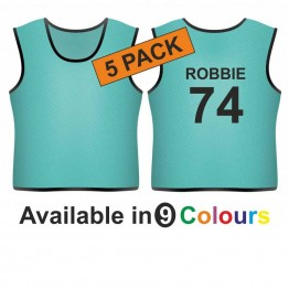 Training bib - printed name & number back 5 pack