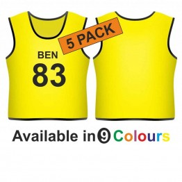Training bib - printed name & number front 5 pack