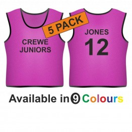 Training bib - printed text front & name & number back 5 pack