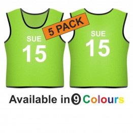 Training bib - printed name & number front & back 5 pack
