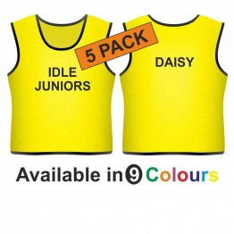Training bib - printed text front & name back 5 pack