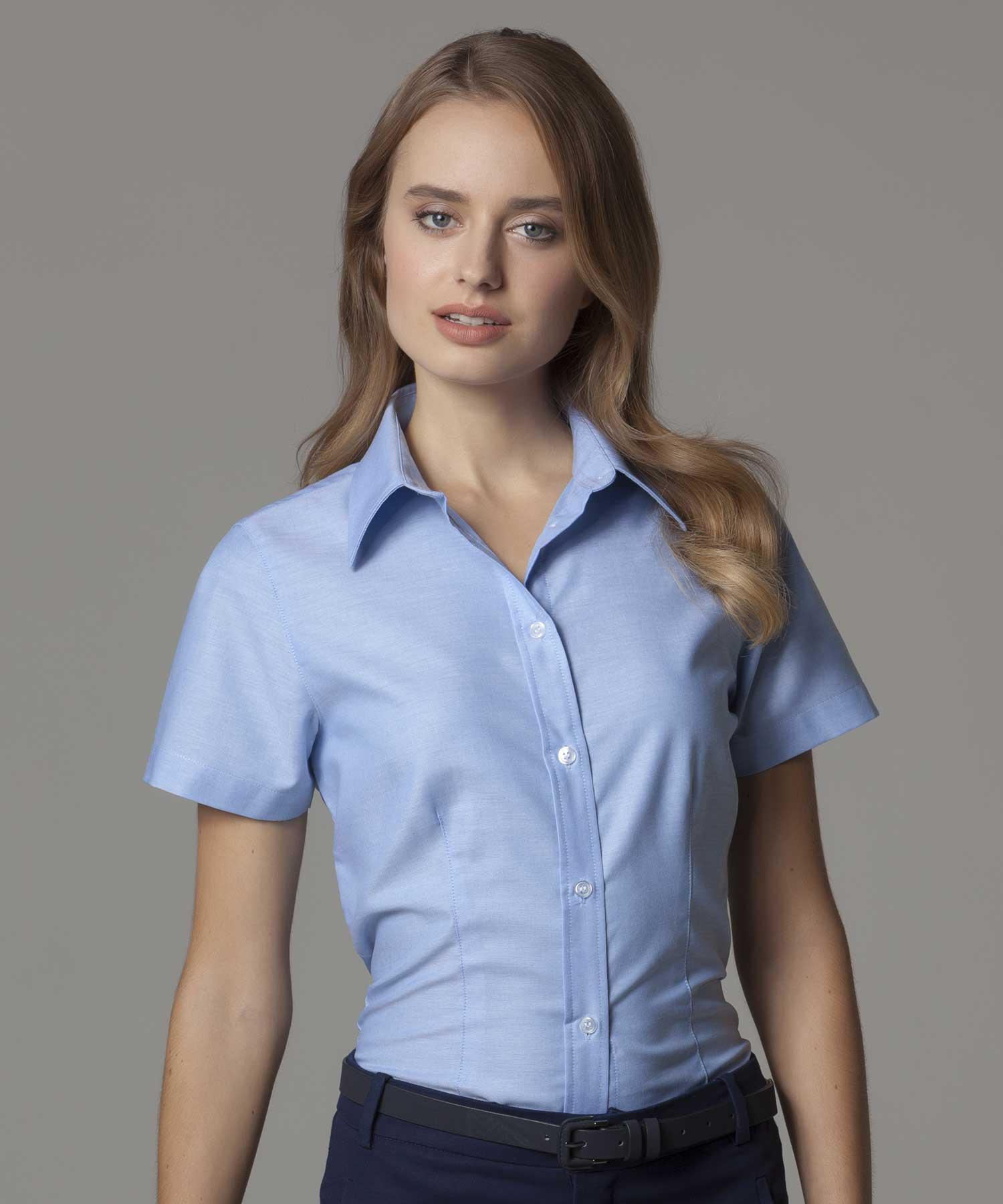 Kustom Kit Ladies Short Sleeve Workwear Oxford Shirt Sew